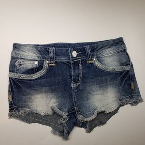 Almost Famous Womens Mid Rise Blue Denim Shorts 3